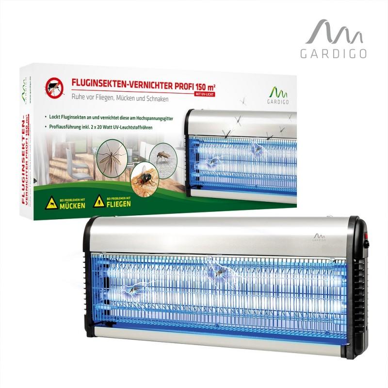 Aparat UV Impotriva Tantarilor, Mustelor, Insectelor Zburatoare - FlugInsekten Profi 150 m² Gardigo ® - Pentru Terase, Magazine,